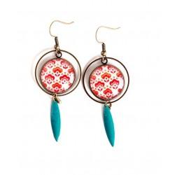 Boucles d'oreilles cabochon, fleurs rouge, sequin turquoise, bronze