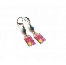Fantasy earrings, multicolor floral artwork, bronze