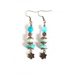 Earrings pendant earrings, turquoise, Regalite stone, blue agate, bronze
