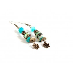 pendientes pendientes pendientes, turquesa, piedra Regalite, ágata azul, bronce