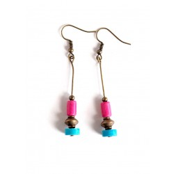 Earrings pendant earrings, turquoise and fuchsia, Howlite, bronze