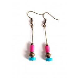 Earrings pendant earrings, turquoise and fuchsia, Howlite, bronze