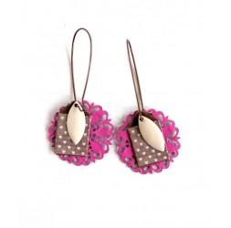 Boucles d'oreilles pendentif, girly fushia, beige poudré, bronze