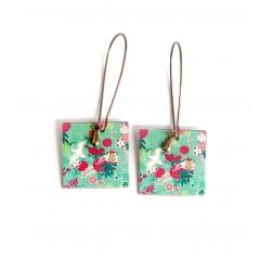 Earrings pendant earrings, fancy, inspiration Japan, Bird, blue and red, bronze