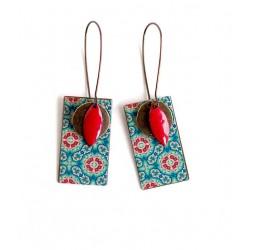 Boucles d'oreilles pendentif, Esprit Maroc, bleu et rouge, Rectangulaire, bronze