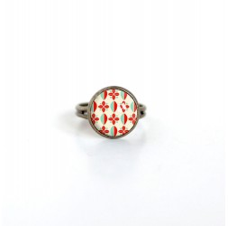 Small ring cabochon 12 mm seventiesh illustration, red and turquoise, bronze