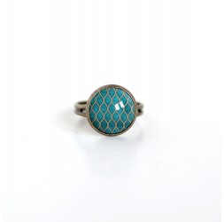 Small ring cabochon 12 mm, Eastern illustration, blue duck green, gold, bronze