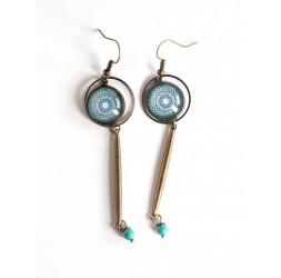Boucles d'oreilles cabochon, bleu, mantra, bronze