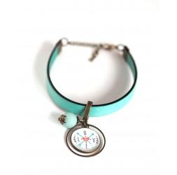 Bracelet femme, cuir bleu pastel, cabochon Message Love
