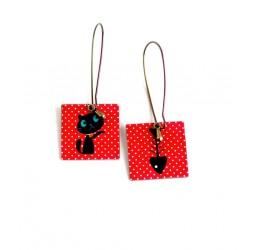 Boucles d'oreilles pendantes, Chat et son poisson, rouge, bronze