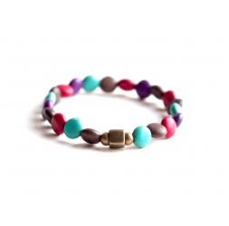 Bracelet élastique, howlite turquoise marron rouge, bronze