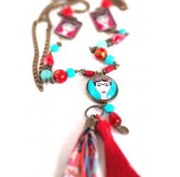 Große Kragenhalskette, mexikanische Diva, Türkis und Rot, Bronze