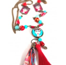 Large collar necklace, Mexican Diva, turquoise and red, bronze