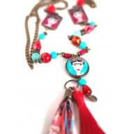 collar collar de gran tamaño, la diva mexicana, turquesa y rojo, bronce