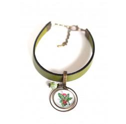 Bracelet femme, cuir vert, cabochon Flamant rose, fleurs tropicales