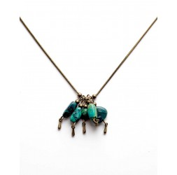 Collar, joyas de piedra, turquesa africana, bronce