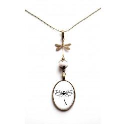 Collier, cabujón, libélula, único, bronce