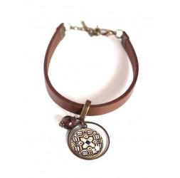 Bracelet femme, cuir marron, cabochon Azuleros portugal, beige et marron