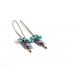 Fantasy earrings, Floral, pink and blue, bronze