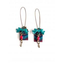 pendientes de fantasía, cera africana, azul, rojo, bronce