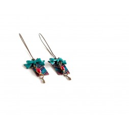 Fantasy earrings, African Wax, red blue, bronze