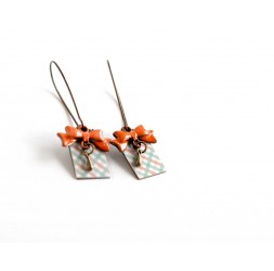 Fantasy earrings, gingham, fifties, green and pastel orange bowtie