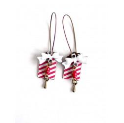 Fantasy earrings, geometric pattern, red white bronze, bow tie