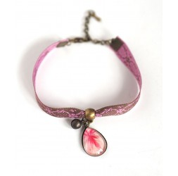 Retro style bracelet, cabochon drop, pink and brown