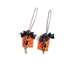 Fantasy earrings, Japanese paper, yellow orange, black, bronze, bow tie