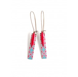 Fantasy earrings, geometric flowers, red turquoise, bronze