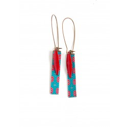 Fantasy earrings, geometric floral, red turquoise, bronze