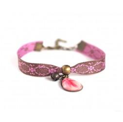 Bracelet style rétro, goutte cabochon, rose et marron