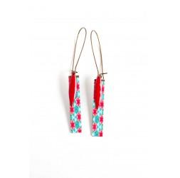 Fantasy earrings, geometric Stars, red turquoise, bronze