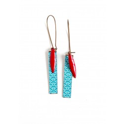 Fantasy earrings, Japanese paper, red turquoise, bronze
