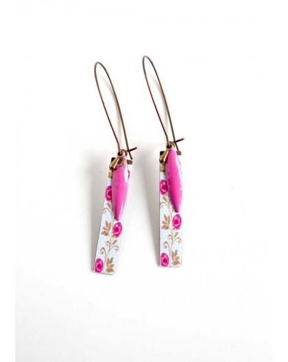 colgantes hechos a mano azul pastel Pendientes flores rosas bronce