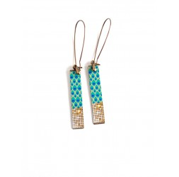 Fantasy earrings, geometric, teal, gold gold, bronze