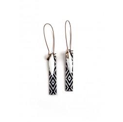 Fantasy earrings, geometric, black and white, bronze