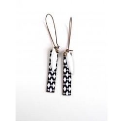 Fantasy earrings, geometric, black and white diamonds, bronze