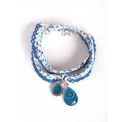 Cord bracelet Liberty style blue flowered cord, cabochon drop, navy blue