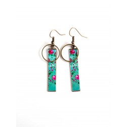 Fantasy earrings, floral, flowery, fuchsia turquoise, bronze