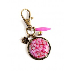 Key Ring, jewelry bag, pink, bronze, Flowers, Floral