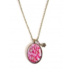 cabochon pendant necklace, oval, pink, bronze, Flowers, Floral