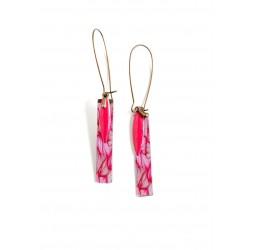Fantasy earrings, Pink, Fuchsia, bronze, floral, flower