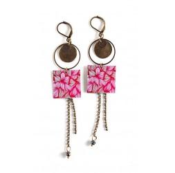 Earrings, long pendant, fuchsia, pink, bronze, flower, floral