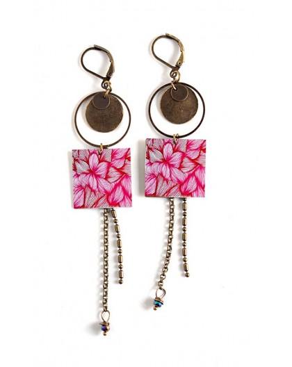 Pendientes, colgante largo, fucsia, rosa, bronce, flor, floral
