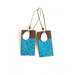 Earrings, pendant, blue Japanese paper, bronze, fantasy