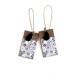 Earrings, pendant, Floral, black and white, bronze, fantasy