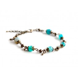 Bracelet, natural stone, turquoise blue agate, bronze