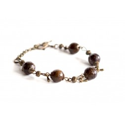 Bracelet, natural stone, Bronzite faceted bronze