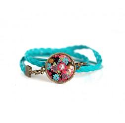 Bracelet manchette, cuir turquoise, Fleuri rouge et turquoise